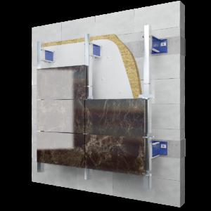 Фасадная подсистема для искусственного и натурального камня